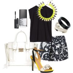 Mix up this season's trending colors: black & white, and neon.