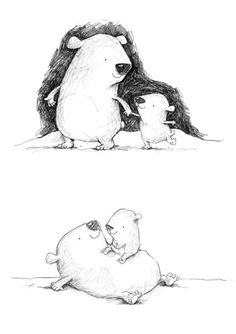 Alison Brown Illustration - alison brown, black and white line, black line, black and white, commercial, picture book, picturebook, fiction, animals, bears, family