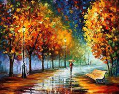 Fall Marathon - Palette Knife Oil Painting On Canvas By Leonid Afremov Painting by Leonid Afremov