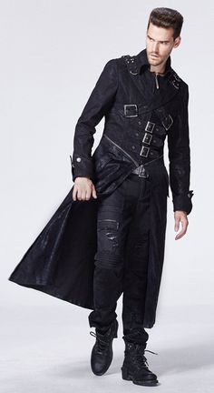 Black jacket man with zip, belts, ties and pockets Punk Rave   Shop : www.steampunk-story.com