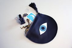 Evil Eye Purse / All Seeing Eye Purse / Navy Blue Leather Clutch // Navy Leather, Iridescent and Blue Accents // Eye of Fatima