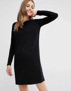 Image 1 of ASOS Shift Dress in Ponte with Long Sleeves