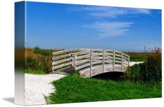 """""""Footbridge"""" by April O, Long Island, NY // Photograph of a footbridge under a blue sky with wispy clouds // Imagekind.com -- Buy stunning fine art prints, framed prints and canvas prints directly from independent working artists and photographers."""