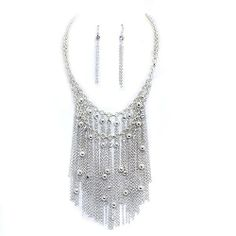 "Fringe Statement Necklace Set; 18""L; Silver Metal with Clear Rhinestones; Lobster Clasp Closure; Matching Earrings Included Eileen Jewelry,http://www.amazon.com/dp/B0078V03EW/ref=cm_sw_r_pi_dp_NTcKsb1BRR1RE71F"