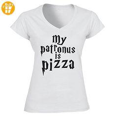 My patronus is pizza Harry Potter Funny Quote Medium Damen V-Neck (*Partner-Link)