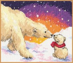 """A BRAND NEW COUNTED CROSS STITCH KIT """"POLAR BEARS - MOM AND SON""""   ALISA #ALISA"""