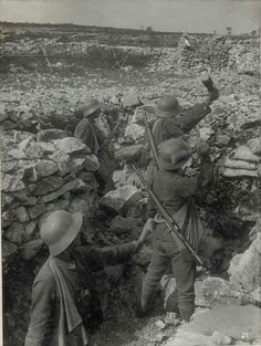 1917 - Austro-Hungarian soldiers on the Isonzo Front. They are all wearing domestically produced Berndorfer helmets.  #WW1 #FWW #Isonzo #WWI