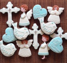 Angel Cookies, Baptism Cookies, Baby Christening, Candy Apples, Themed Cakes, Cookie Decorating, Cake Pops, Christmas Cookies, Oreo