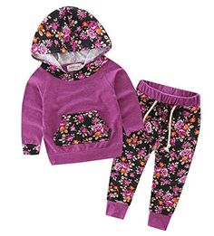 Baby Girls Floral Hoodie+ Floral Pant Set Leggings 2 Piece Outfits (6-12Months, Purple-red)