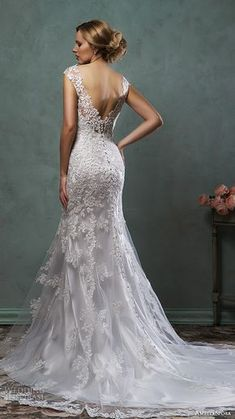 amelia sposa 2016 wedding dresses cap sleeves v neck lace embroidery gorgeous fit flare trumpet mermaid dress alba back view