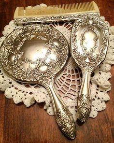 Vintage Vanity set by Godinger SilverPlate Brush Comb and Mirror Vanity Set, Dresser Vanity, Vanity Room, Dresser Sets, Antique Vanity, Vintage Vanity, Antique Silver, Silver Vanity, Vintage Antiques