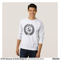 CCCP Hammer & Sickle Badge Men's Sweatshirts - Outdoor Activity Long-Sleeve Sweatshirts By Talented Fashion & Graphic Designers - #sweatshirts #hoodies #mensfashion #apparel #shopping #bargain #sale #outfit #stylish #cool #graphicdesign #trendy #fashion #design #fashiondesign #designer #fashiondesigner #style