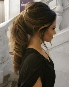 Wedding, prom, formal hairstyle. Updo, ponytail. Wavy, curly. Thick, brown hair. Balayage highlights.