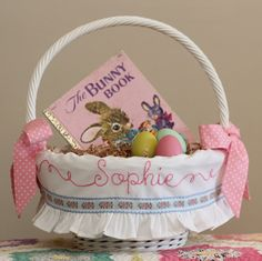 Personalized Easter Basket Liner, fits SMALL or LARGE Pottery Barn Kids Sabrina Basket, Shabby Chic Hand Embroidery, Blue Brocade Ribbon