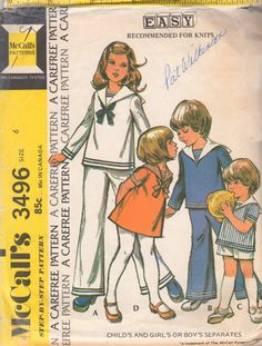 McCalls 3496 1970s Girls Boys Sailor Style Separates Dress Tops Pants Shorts childs vintage sewing pattern by mbchills