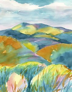Original landscape watercolor painting, From Where We Stand by BlueBirdHill on…