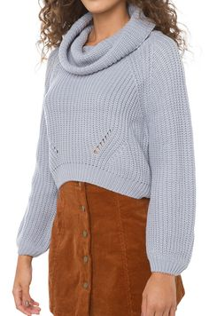 Cowl Neck Cropped Knit Sweater in Grey | AKIRA