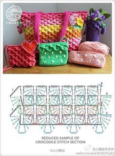 Crochet Crocodile Stitch Purse - Chart  ❥ 4U // hf