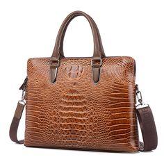 Luxury Crocodile pattern Leather Laptop bag men Fashion Casual Business Travel bag men  tablet notebook bag 2016 new