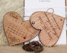 Wood Save-The-Date Magnets 100/ Engraved by AmazingWoodCraft