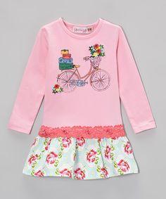 Another great find on #zulily! Pink Rose Bike Drop-Waist Dress - Toddler & Girls by Heather Hill #zulilyfinds