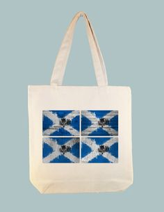 Scottish Flag Textured Collage Illustration 15x15 Canvas Tote -- larger zip top tote style and personalization available