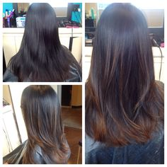 Medium layered hair cut before and after.