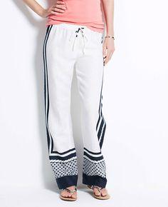 Linen Border Print Pants