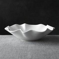 """White Ruffle 15"""" Large Bowl"""