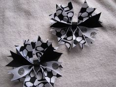 2 Black Silver and White Soccer Girl Spike Hair Clips by rbwebb02, $6.00