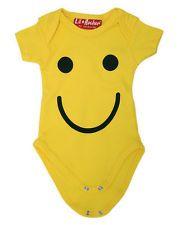 Smiley Face Yellow Smile Happy Punk Rock Baby Gro Suit Onesie Set Cute Emoticon