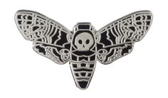 PUNKY PINS DEATH HEAD MOTH ENAMEL PIN - This moth is not going to eat through your wool sweater! Punky pins hard enamel pin features a death head moth which gets its name from the skull marking on its thorax. This pin has a butterfly clutch backing to keep it secured to your lapel!
