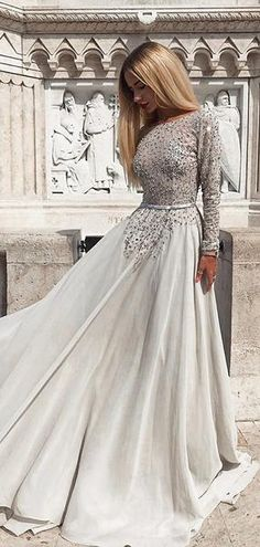 5a4ae7dd3cd 2019 Modest Grey Long Sleeves Backless Prom Evening Dresses with Beaded