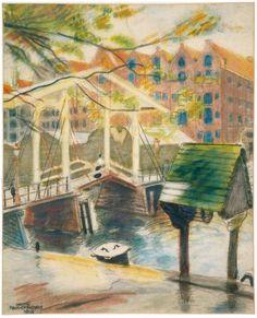 Bruggetje op het Prinseneiland Amsterdam, pastel op papier, 1916, Martin Monnickendam