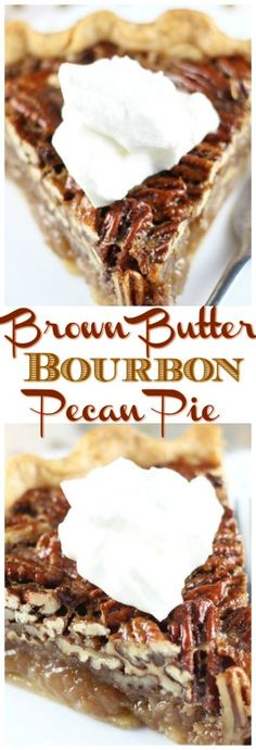 Brown Butter Bourbon Pecan Pie Traditional pecan pie gets a flavor makeover with the addition of brown butter and bourbon! The resulting gooey, sweet, and flavorful pecan pie is anything but traditional! Holiday Desserts, Holiday Baking, Christmas Baking, Just Desserts, Delicious Desserts, Yummy Food, Christmas Pies, Awesome Desserts, Fall Baking