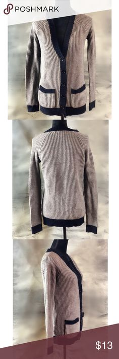 Forever 21 Grey Cardigan Adorable, pre owned but in great condition. Classic grey cardigan with navy blue trim and a V neck. Women's size small. Machine washable. Forever 21 Sweaters Cardigans