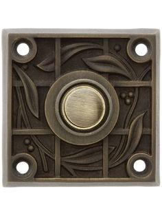 Victorian Door Bell Button. Solid Brass Vine & Trellis Pattern Doorbell Button In Antique Brass #doorbells