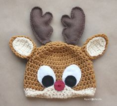 Crochet Rudolph the Reindeer Hat Pattern - Repeat Crafter Me (use her antler pattern for the eyes too)