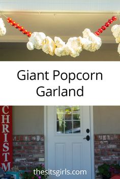 Turn the idea of traditional popcorn garland into something spectacular with this tutorial for making GIANT popcorn garland to hang outside. A can of foam sealant will help you make this easy Christmas decoration. Office Christmas, Simple Christmas, Christmas Holidays, Christmas Ideas, Christmas Crafts, Tacky Christmas, Prim Christmas, Antique Christmas, Christmas Nativity