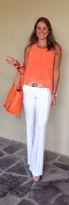 Look de trabalho - Look do dia - calça branca - laranja