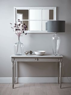 Greywashed Carved Console Table