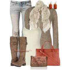 """""""Taupe & Coral"""" by casuality on Polyvore"""