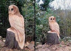 owl carved in wood, prob with chainsaw
