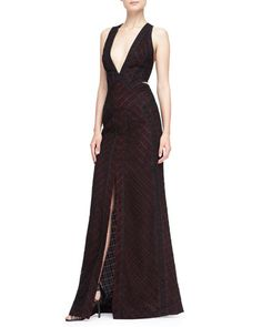B2PP2 J. Mendel Plunging Lace-Overlay Gown