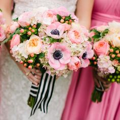 Bright pink anenomies, peach garden roses and peach hypernicum berries added a fun, modern touch to Sarah's bouquet. Florals: Bella Bloom Florals - Sherwood,Oregon Photos: Aaron Courter Photography