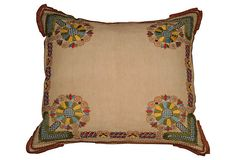 Pillow w/ Antique Embroidery $495.00  Love the corner detail!
