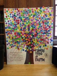 Family Tree of Faith - have everyone in church write name and put on tree and the name of people important to their Christian life (i. former Sunday school teachers, preachers, prayer warriors); good visualization of our connectedness in Jesus Sunday School Rooms, Sunday School Crafts, Sunday School Classroom, School Kids, Prayer Stations, Prayer Wall, Church Nursery, Church Banners, Church Activities