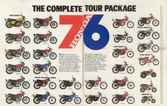 The 1976 Honda line-up!  Except...  the CR125 pictured is the 1975 Model!  And they point that out if you read close.  Wonder what happened?