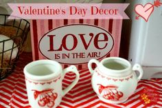 Sunny Simple Life: Valentine's Day Decor in the Kitchen, vintage kitchen, Valentine decor ideas