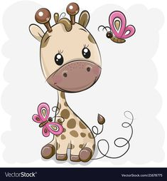 Giraffe with balloon on a hearts background. Cute Cartoon Giraffe with balloon on a hearts background vector illustration Cartoon Cartoon, Cartoon Giraffe, Cute Cartoon Animals, Cute Animals, Cute Giraffe Drawing, Baby Painting, Giraffe Painting, Heart Background, Easy Drawings